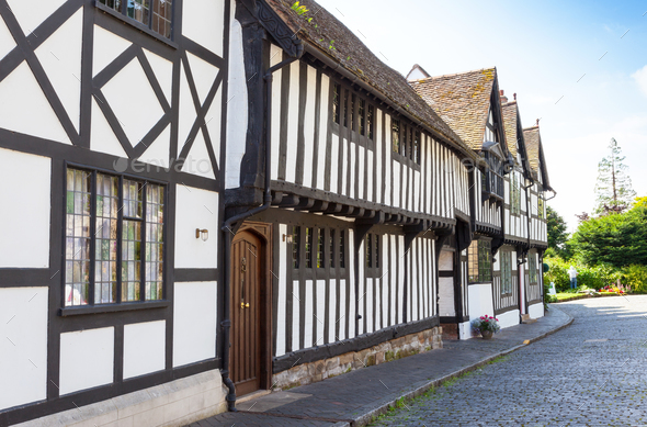 Traditional Timbered Houses in Warwick - Stock Photo - Images