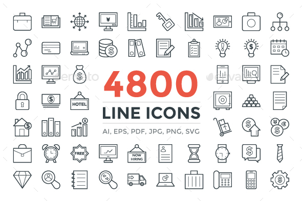 4800 Line Icons Pack - Icons