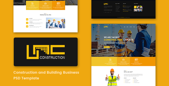 Unc Construction - Construction Business, Building Company PSD Template