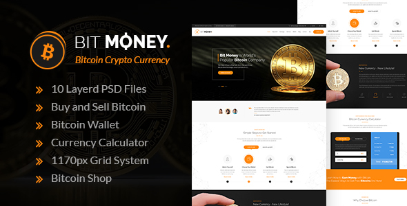 Bit Money - Bitcoin Crypto Currency PSD Template