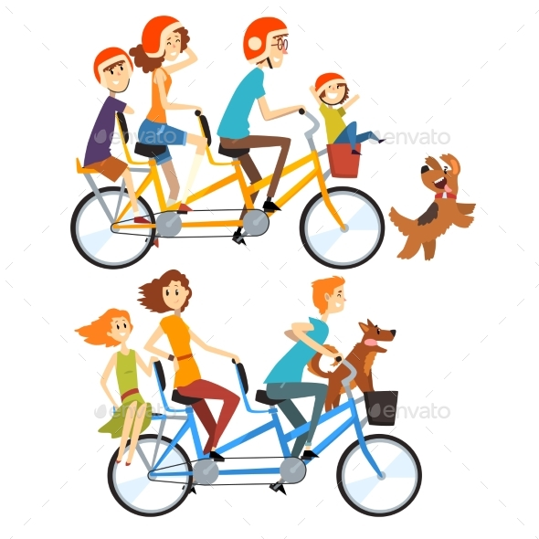 Two Happy Families Riding on Tandem Bicycles - Sports/Activity Conceptual