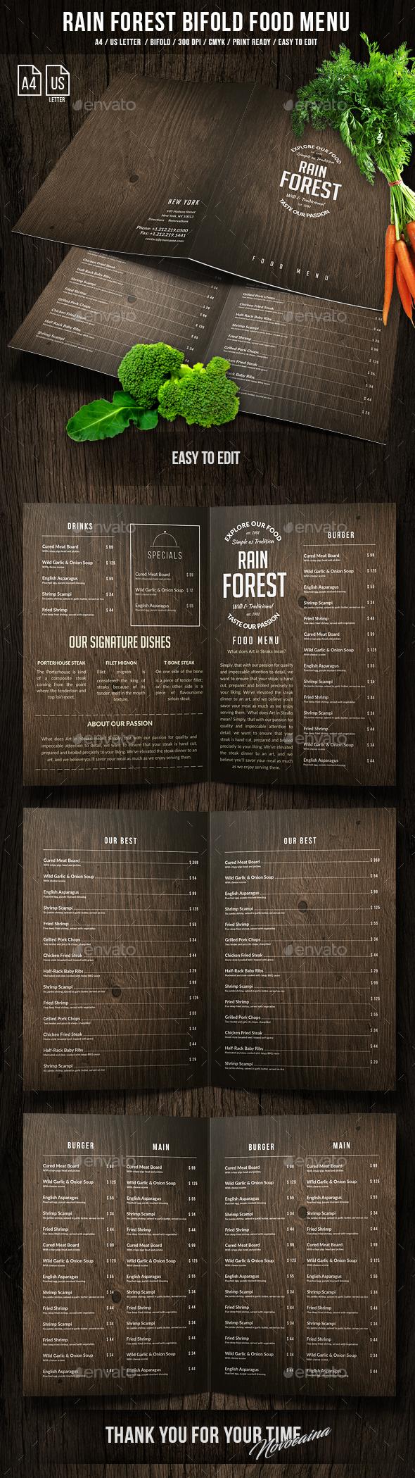 Rain Forest A4 & US Letter Bifold Menu - Food Menus Print Templates