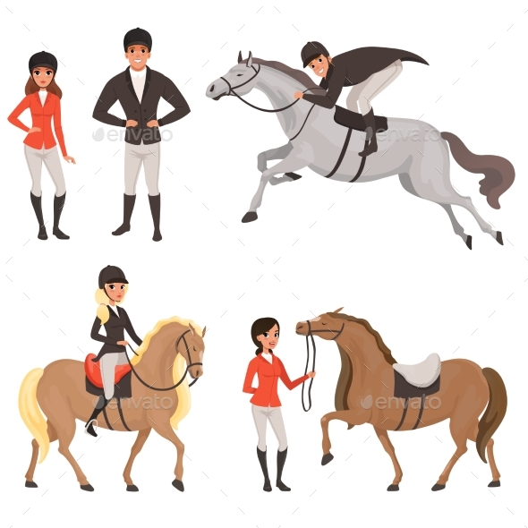 Set of Jockeys and Horses in Different Actions - Sports/Activity Conceptual