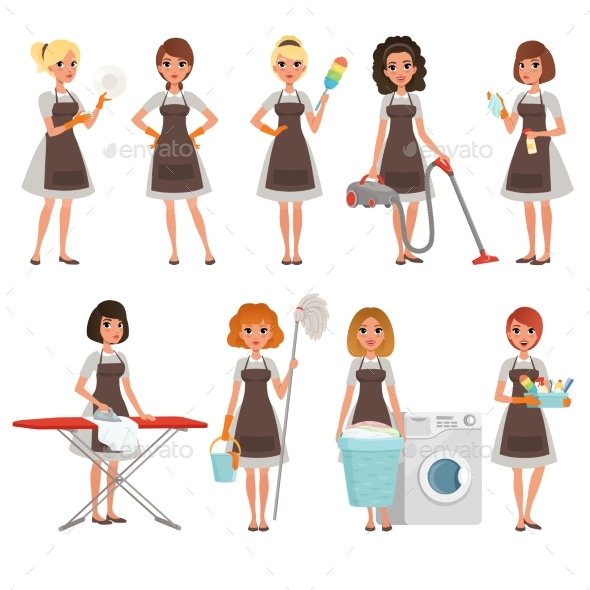 Set of Housewives with Different Equipment - People Characters