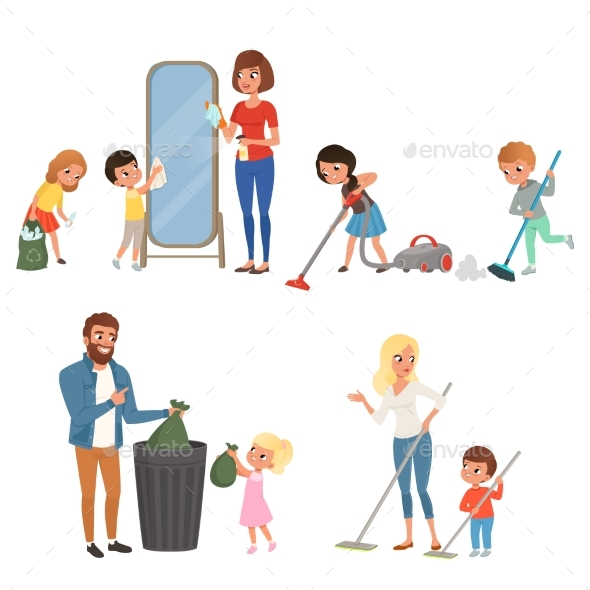 Children Helping Their Parents with Housework - People Characters