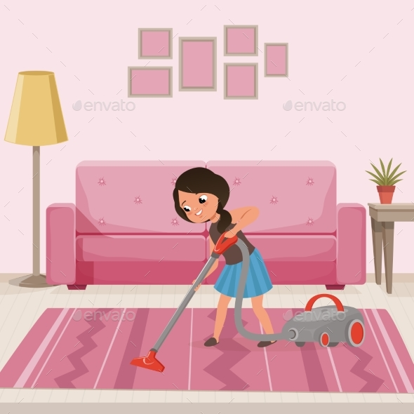 Cheerful Teen Girl Cleaning Carpet with Vacuum - People Characters