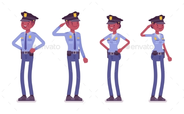 Young Black Police Officers Standing - People Characters