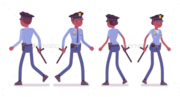 Young Black Police Officers Walking - People Characters