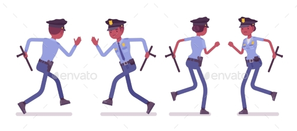 Young Black Police Officers Running - People Characters