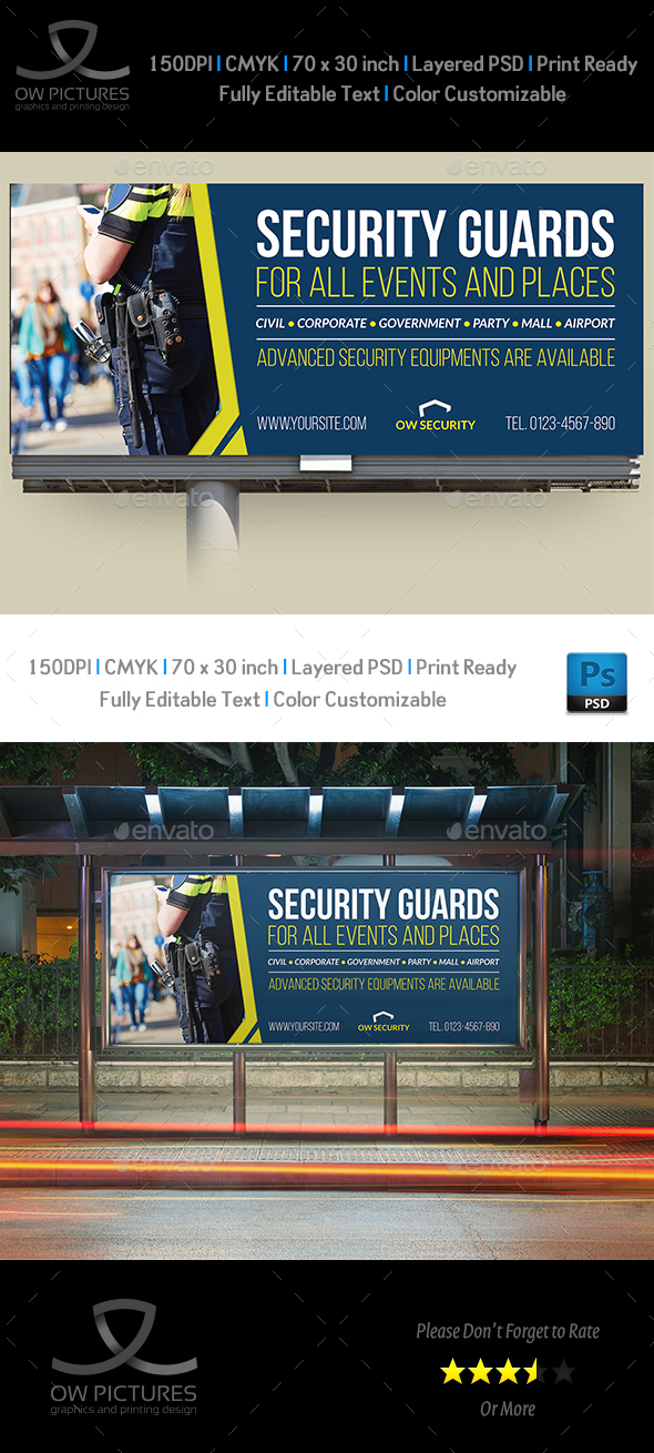 Security Guards Billboard Template - Signage Print Templates