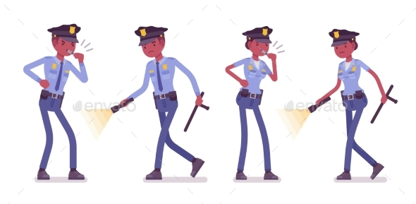 Young Black Police Officers Investigating - People Characters