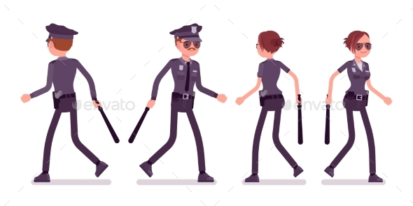 Young Police Officers Walking - People Characters