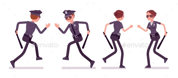 Young Police Officers Running - People Characters