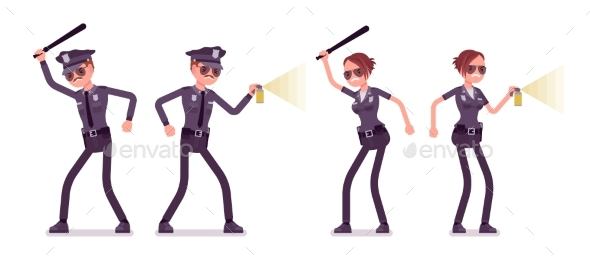 Young Police Officers at Attack and Defence - People Characters