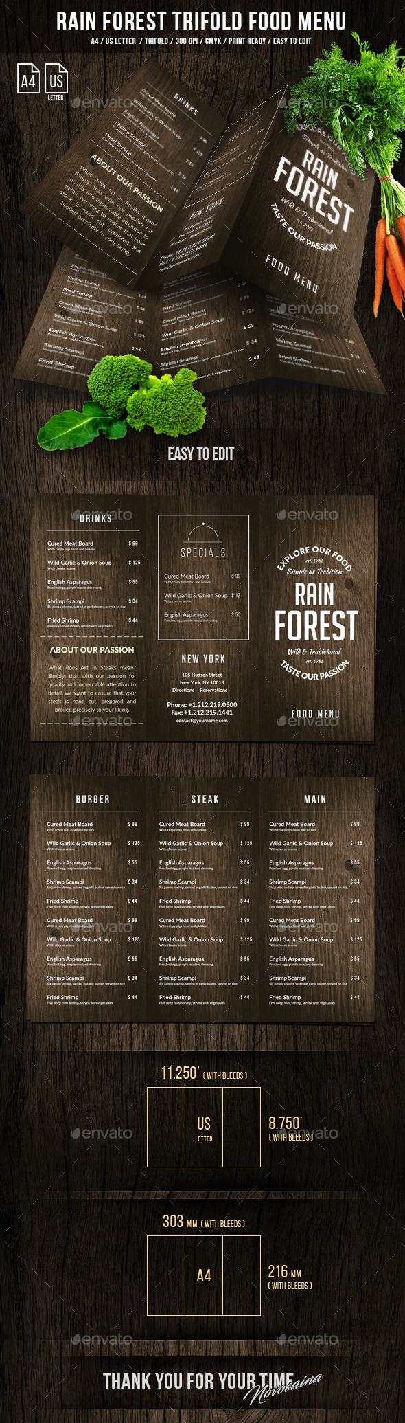 Rain Forest A4 & US Letter Trifold Menu - Food Menus Print Templates