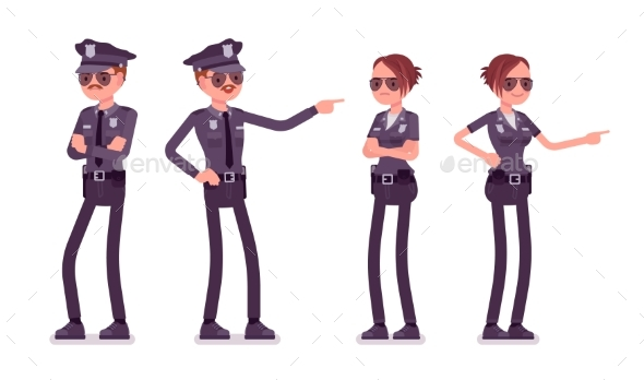 Young Police Officers at Duty - People Characters