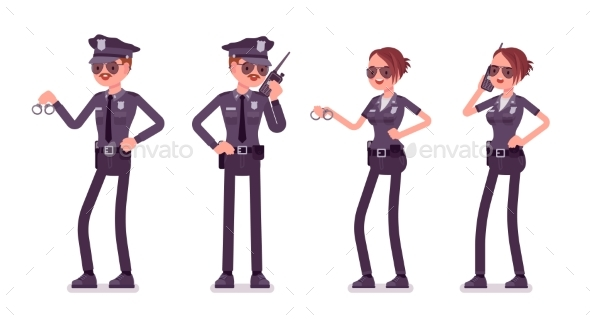 Young Police Officers Working - People Characters