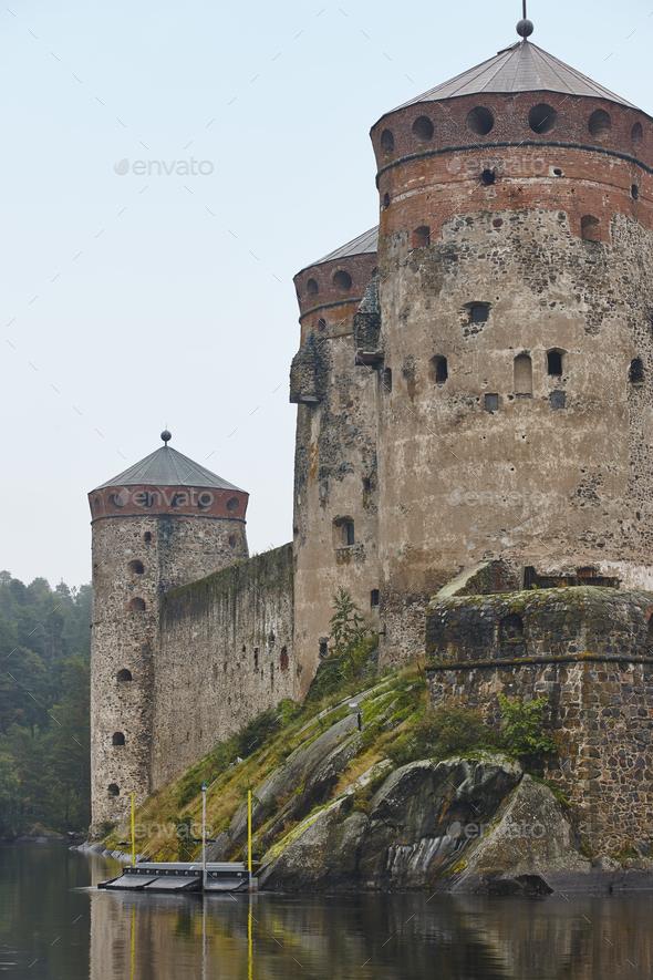Savolinna castle fortress. Finland landmark. Finnish heritage. Vertical - Stock Photo - Images