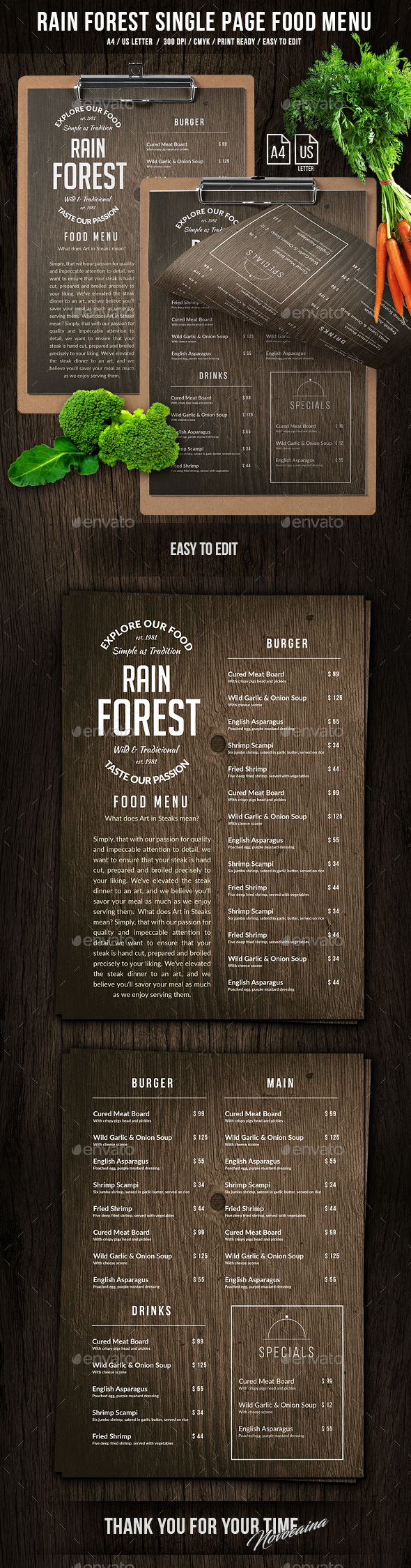 Rain Forest A4 & US Letter Single Page Menu - Food Menus Print Templates