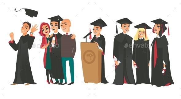 College Graduates, Boys and Girl in Caps and Gowns - Miscellaneous Vectors
