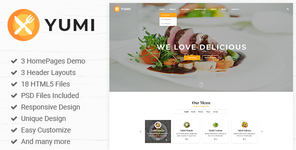 Yumi Restaurant is a clean HTML5/CSS3 template suitable for Restaurant, Online Booking Services. You can customize it very easy to fit your needs.