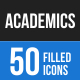 50 Academics Filled Blue & Black Icons
