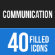 40 Communication Filled Blue & Black Icons