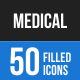 50 Medical Filled Blue & Balck Icons