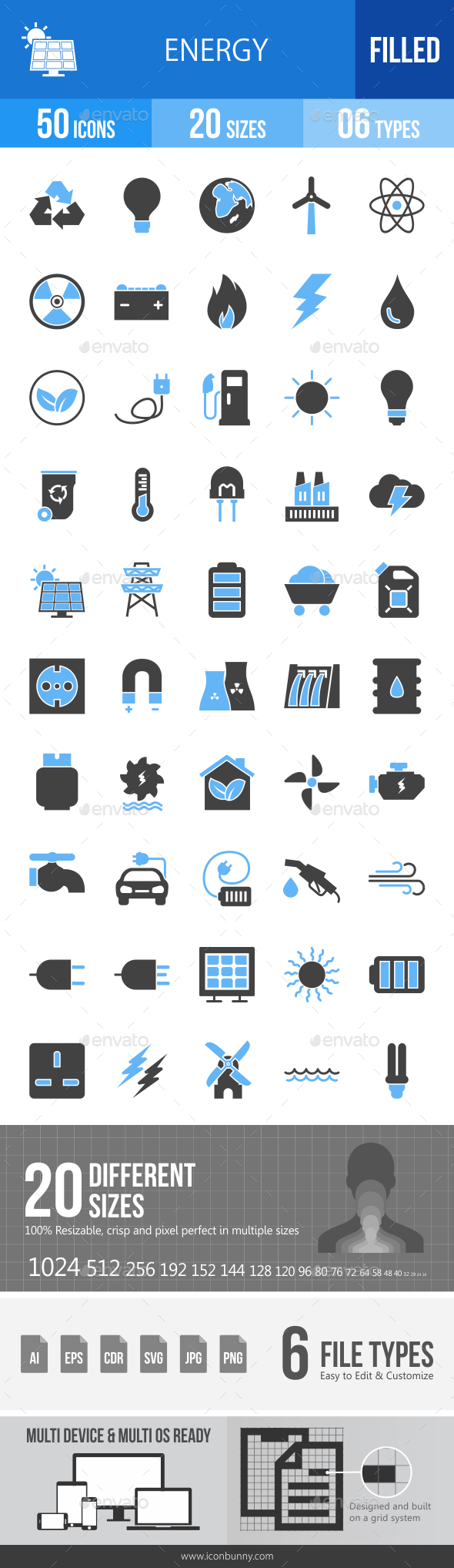 50 Energy Filled Blue & Black Icons - Icons