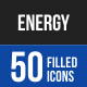 50 Energy Filled Blue & Black Icons