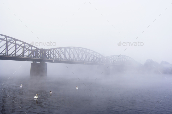 Bridge in the fog - Stock Photo - Images
