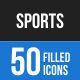 50 Sports Filled Blue & Black Icons