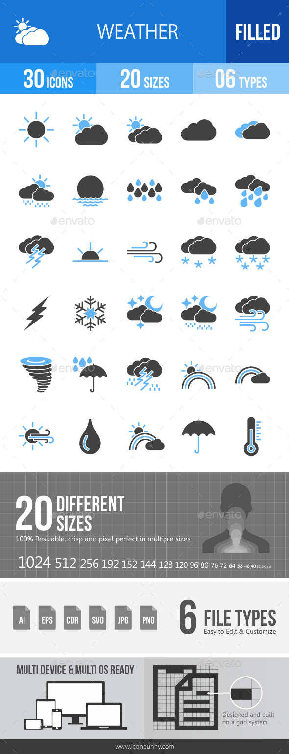 30 Weather Filled Blue & Black Icons - Icons