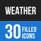 30 Weather Filled Blue & Black Icons
