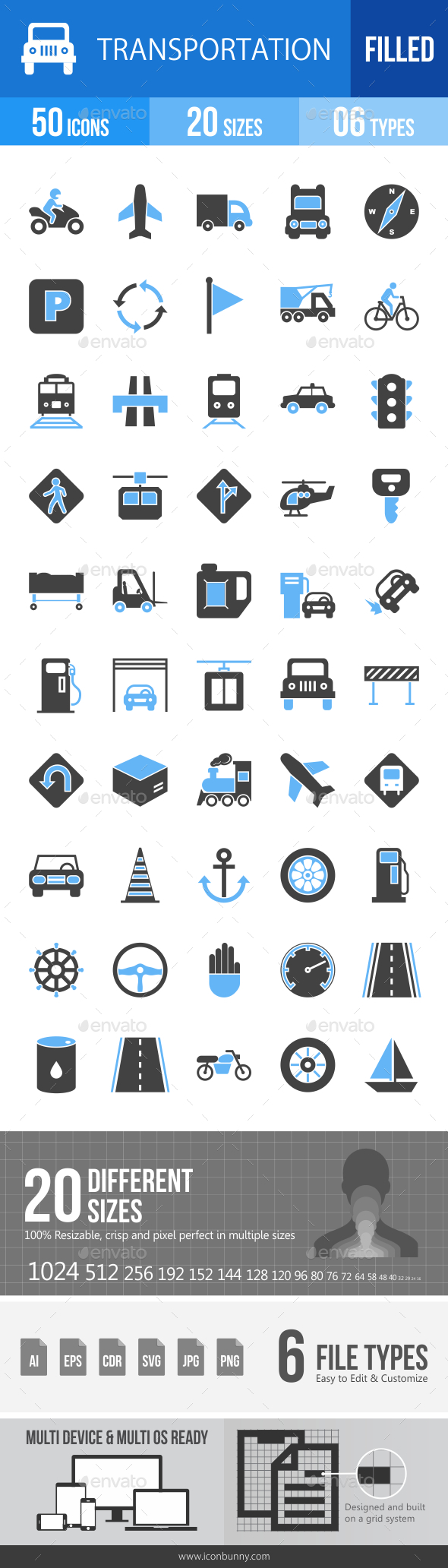 50 Transportation Filled Blue & Black Icons - Icons