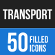 50 Transportation Filled Blue & Black Icons