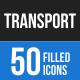 50 Transportation Filled Blue & Black Icons - GraphicRiver Item for Sale