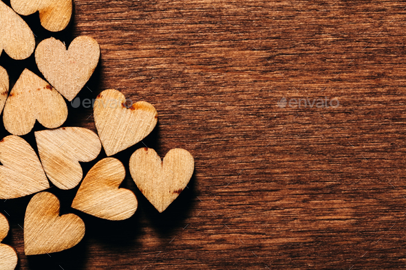 Valentine's Day background. Wooden hearts. - Stock Photo - Images
