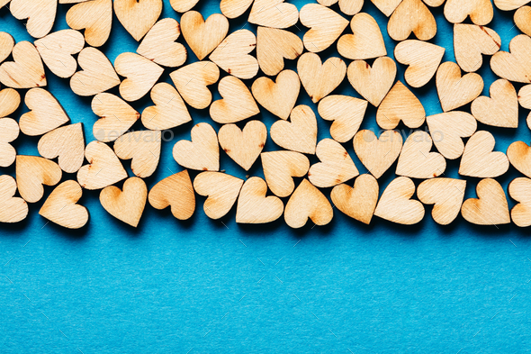 Bunch of hearts on blue background. - Stock Photo - Images