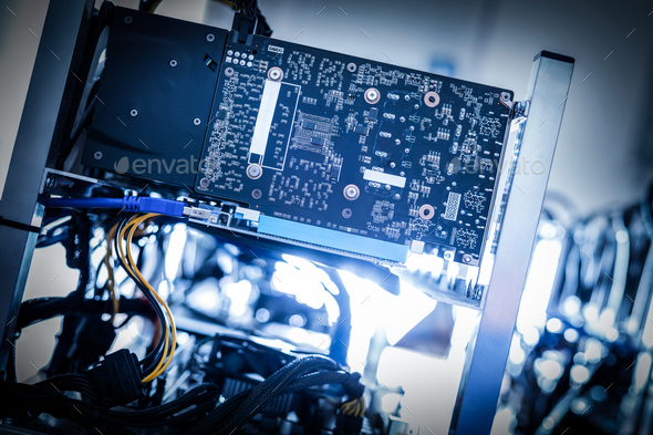 Fragment of cryptocurrency miner in a close-up shot. - Stock Photo - Images