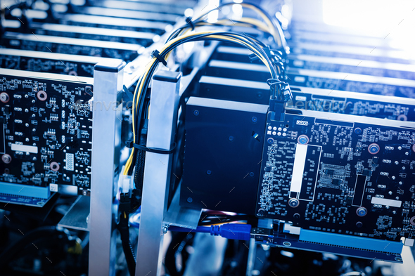 Bitcoin mining farm. Cryptocurrency business device. - Stock Photo - Images