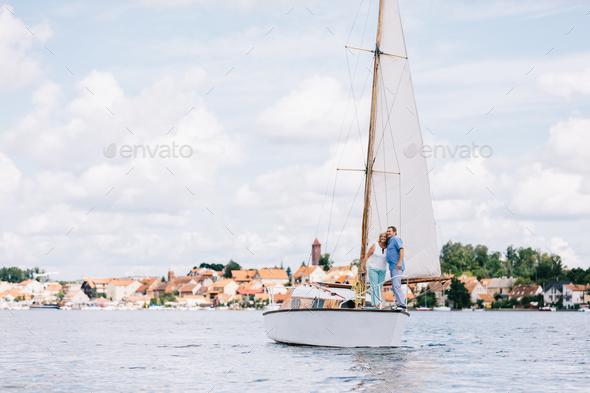 Elderly people cruising on the lake - Stock Photo - Images