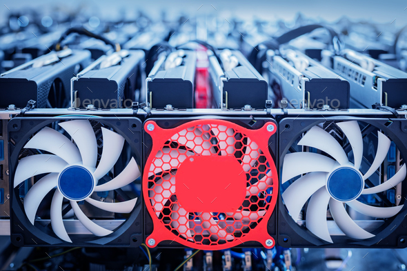 Bitcoin industry hardware. Cryptocurrency mining - Stock Photo - Images
