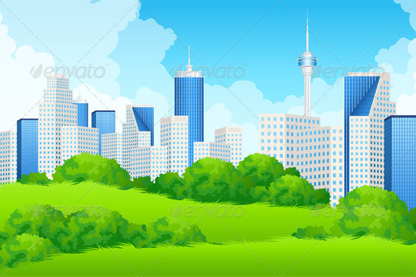Landscape with Business City and Green Hills - Landscapes Nature