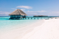 Wooden terrace on stakes and jetty on tropical island - PhotoDune Item for Sale