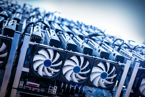 Big IT machine with fans. Cryptocurrency mining - Stock Photo - Images