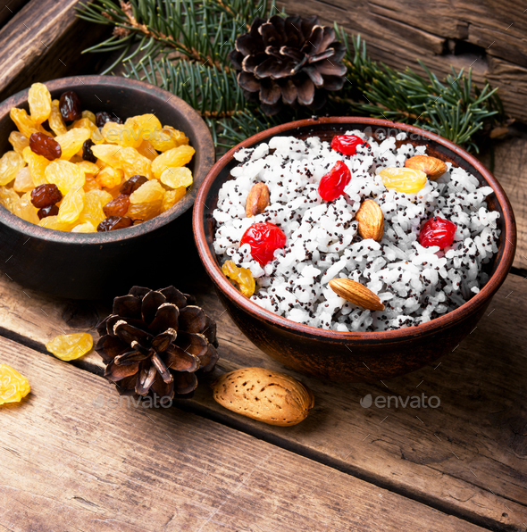 holiday rice porridge with nuts and raisins - Stock Photo - Images