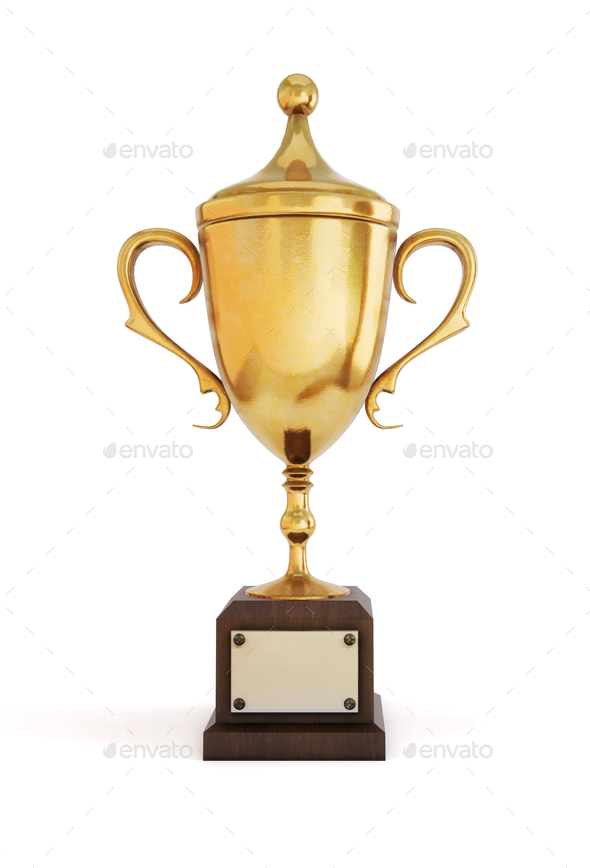 Gold Cup champion on a white background. Front view. 3D illustra - Stock Photo - Images