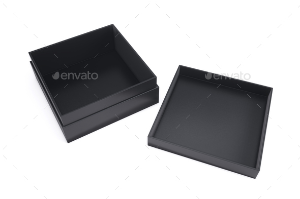 Empty black box with the adjacent cap on a white background. 3d - Stock Photo - Images