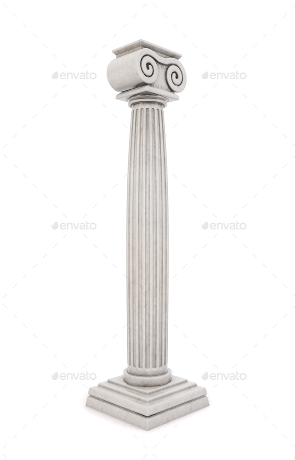 Single greek column isolated on white background. 3D illustratio - Stock Photo - Images